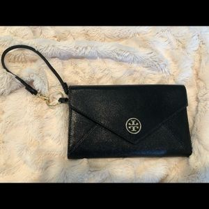 Tory Burch clutch wristlet black leather